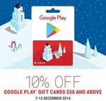 10% off All Google Play Gift Cards over $50 at 7-Eleven