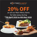 20% off All Main Menu Items at Eighteen Chefs