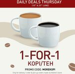 1 for 1 Kopi/Teh at Toast Box (Mobile E-Store Orders)