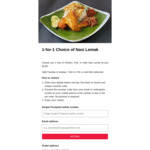 1 for 1 Chicken, Fish, or Otah Nasi Lemak for $2.80 at Super Shiok Nasi Lemak via HungryGoWhere [Singtel Postpaid Customers]