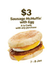 Free Sausage McMuffin with Egg with Any Purchase at McDonald's (via App) [7-8 Jan]
