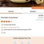 Free Raisin Cream Bread from Barcook Bakery via Lobang King Club App