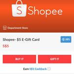 20% ($1) Cashback on $5 Shopee Gift Cards via Fuzzie App